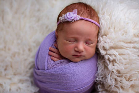 Sleeping, seven day old newborn baby girl swaddled in a Violet wrap. Shot in the studio on a white sheepskin rug