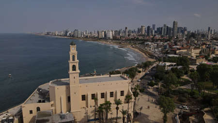 Tel Aviv - Jaffa, view from above. Modern city with skyscrapers and the old city. Birds-eye view. Israel, the Middle East