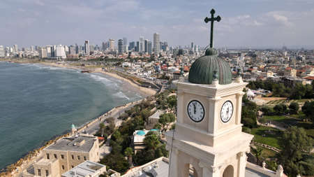 View from the drone on the old town of Jaffa and Tel Aviv, Israel. Tower of the bell from the birds eye view