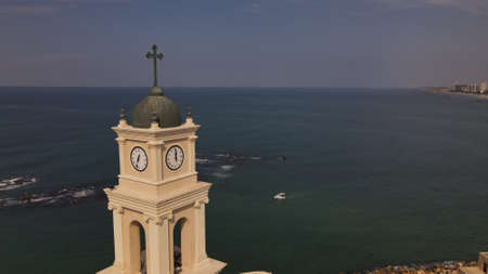 Jaffa and Tel Aviv, Israel. Tower of the bell from the birds eye view