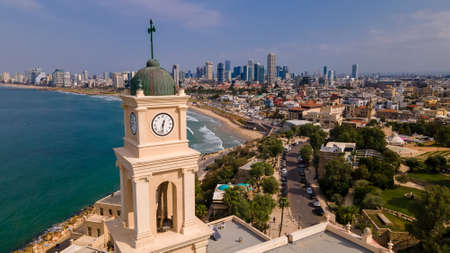 Belltower, Jaffa, Tel Aviv, Israel, Aerial view. Modern city with skyscrapers and the old city. Birds-eye view Stok Fotoğraf