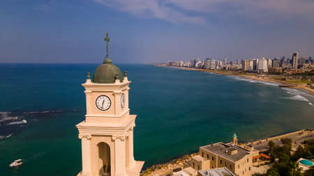 Tel Aviv Jaffa view from above Modern city with skyscrapers and the old city. Birds-eye view. Israel, the Middle East Stok Fotoğraf