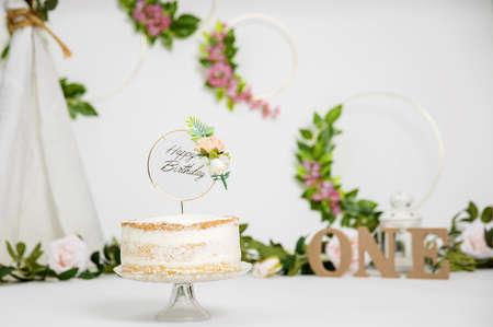Festive background decoration for birthday celebration with gourmet cake Reklamní fotografie