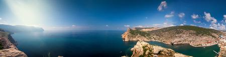 Panoramic view of the surrounding mountains and the sea. Cape Balaklava. Balaclava. Crimea. Ukraine