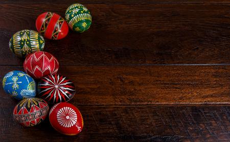 many colored handmade easter eggs