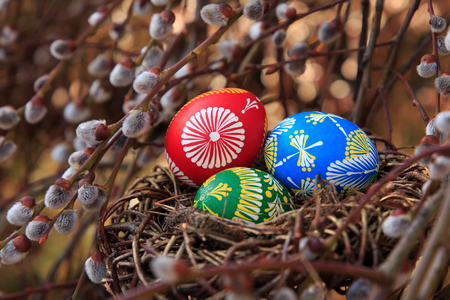 easter eggs in a nest with Willow twig