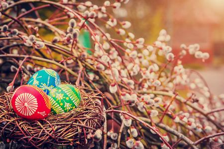 Oeufs de pâques dans un nid Banque d'images - 95405214