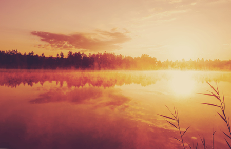 Beautiful morning landscape on a river with mist over the water. amazing sunrise over the lake. 版權商用圖片