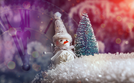 Classic postcard. for a Christmas project or a festive winter background. Christmas snowman with decoration and lighting. concepsion of Christmas holidays. retro