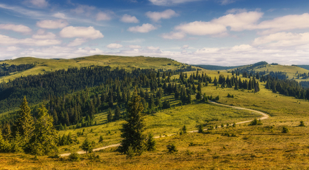 A magnificent panorama of the mountains with perfect sky. Awesome alpine highlands in sunny day. impressively beautiful Romania. Picture of wild area.