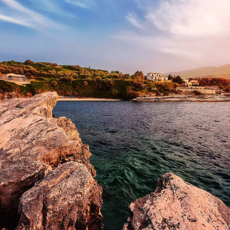 Seascape during sunset. Natural seascape in the Greece. Splendid morning scene of Corfu Island. Fabulous morning seascape of Ionian Sea. Panoramic morning view of the see. Awesome nature landscape Standard-Bild
