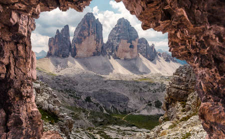 Awesome alpine highlands in sunny day. Amasing nature landscape. Tre Cime di Laveredo, three spectacular mountain peaks in Tre Cime di Lavaredo National Park, Sesto Dolomites, South Tyrol, Italy