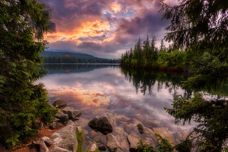 Colorful Autumn landscape under warm Sunlit. Majestic mountain lake in National Park High Tatra at sunset. Dramatic unusual scene. Picturesque Sky glowing by sunlight. Strbske pleso, Slovakia, Europe
