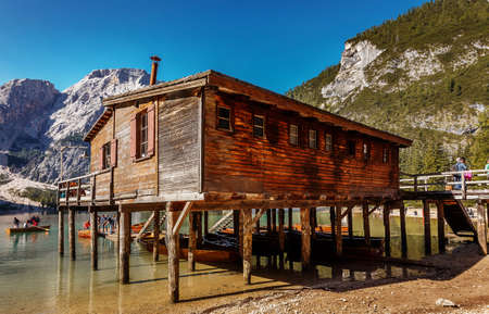 Incredible Nature Landscape. Hut on Braies Lake, Dolomites, Italy. Colorful summer landscape of Italian Alps, Naturpark Fanes-Sennes-Prags, Dolomite, Italy, Europe.
