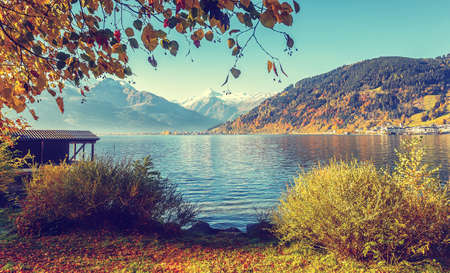 A beautiful view from Lake Zell. Wonderful Autumn landscape in Alps with Zeller Lake in Zell am See, Salzburger Land, Austria. Natural background.