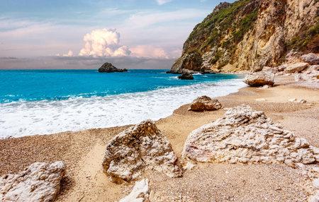 Beautiful view over the sea beach in Kerkyra island. Wonderful morning seascape of Ionian Sea, Corfu island. Bright summer view of Gyali Beach. Greece, Europe. Awesome nature landscape