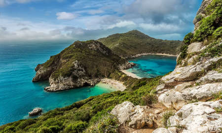 Beautiful, Porto Timoni, Afionas village location.. Wonderful morning seascape of Ionian Sea, Corfu island. Bright summer view of Pirates Bay. Corfu island. Greece, Europe. Awesome nature landscape.