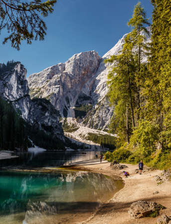 Incredible Nature landscape. Famous alpine place of the world Amazing Braies Lake with Seekofel mount on background. Awesome nature Scenery. Popular plase for photographers. Beautiful in the World