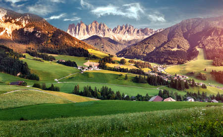Awesome alpine Landscape. Famous best alpine place of the world, Santa Maddalena St Magdalena village with magical Dolomites mountains in background, Val di Funes valley, Trentino Alto Adige. Italy.