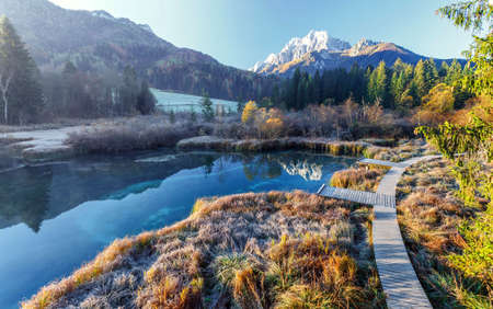 Awesome Alpine Valley Under morning sunlight. Incredible frosty morning view of Zelenci nature reserve dyring sunrise. Sunny scene of Julian Alps,Triglav national park. Kranjska gora, Slovenia, Europe 版權商用圖片