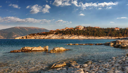 Amazing morniung seascape of Ionian Sea with perfect sky. Wonderful summer view of Kefalovia island, Greece, Europe. Sunny day on the Emblisi beach. Awesome nature landscape of Greece. postcard.