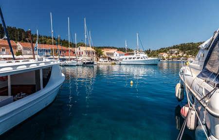 Beautiful Ioniat sea Seaccape. Wonderful summer day, Fiskardo village and harbor. Kefalonia island, Greece, Europe.