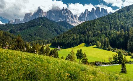 Wonderful Nature Landscape. Santa Maddalena, the Dolomites Alps. Italy