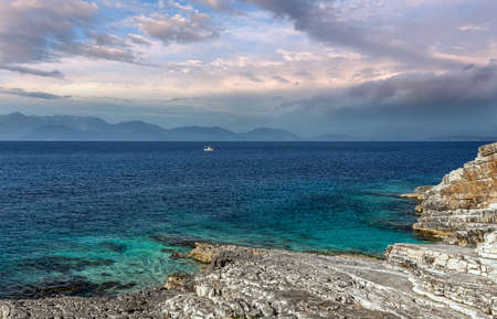 Wonderful summer seascape of Ionian Sea. Wonderful place for holiday. Amazing Greece. Picturesque colorful in Kefalonia island. Turquoise colored bay in Mediterranean sea. Amazing postcard.