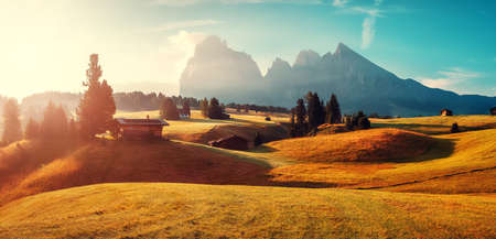 Stunning morning Scene. Majestic Moutain peak Sassolungo under sunlight, Alpe di Siusi valley during sunset. Amazing Nature Landscape. Awesome Dolomites alps. Incredible colorful Scenery. Wild area.
