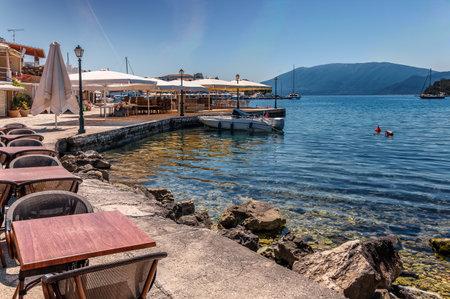 Wonderful Sunny seascape. Fiskardo village and harbor on Kefalonia Ionian island, Greece. popular travel destination. Amazing plase for holyday