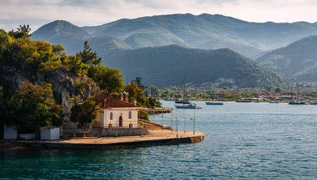 Wonderful sunny seascape. Ionian sea. Greece. amazing nature scenery.