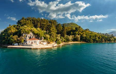 Wonderful sunny seascape. Ionian sea. Greece. amazing nature scenery 版權商用圖片