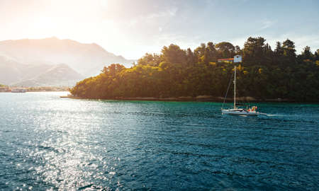 Fantastic Sunny Seascape. Panoramic sea bay view, yachts and boats. French Riviera, Azure Coast or Cote d Azur, Provence.