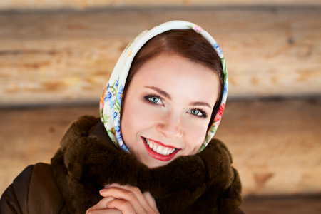 Russian woman smiling in a village photo