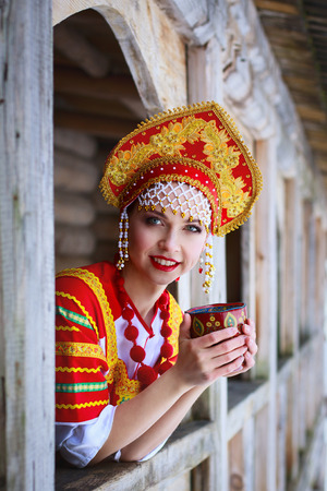 kokoshnik: Russian woman in a kokoshnik a smiling in a village