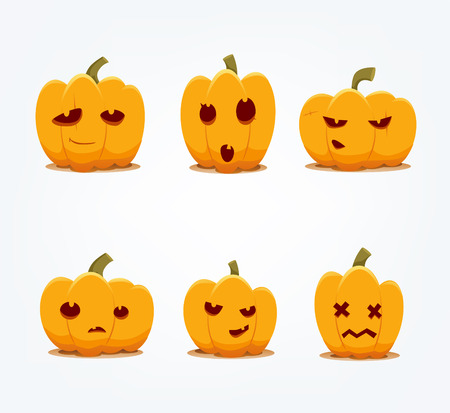 Vector icons of Jack o Lantern pumpkins.