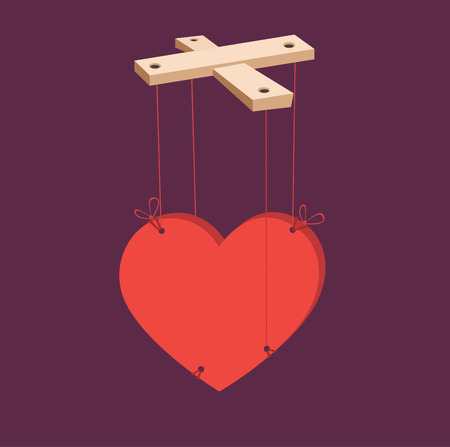 manipulate: Vector illustration of heart puppets.