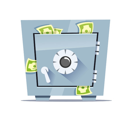 Vector illustration of a closed safe with money.