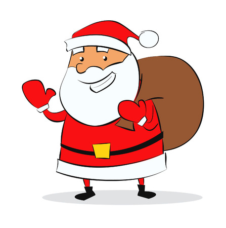 Christmas illustration of Santa Claus with a bag of gifts