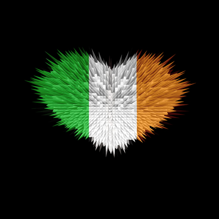 ireland flag: The Heart of Ireland Flag abstract background.