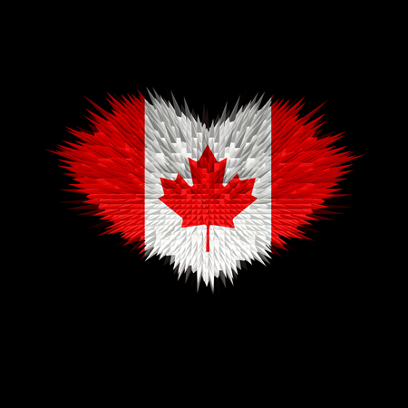 The Heart of Canada Flag abstract background.