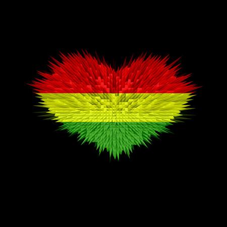 El corazón de Bolivia Bandera de fondo abstracto.