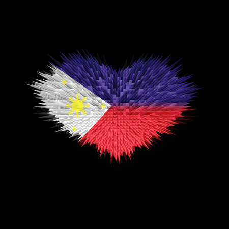 The Heart of Philippines Flag abstract background.