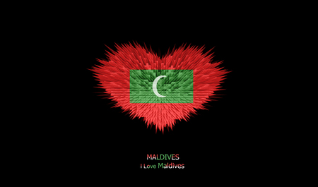 The Heart of Maldives Flag abstract background. Stock Photo