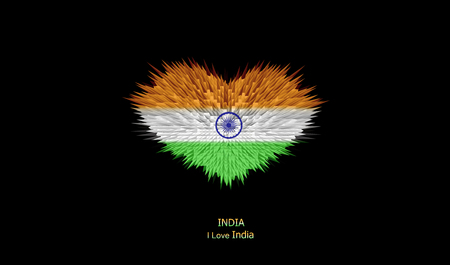 The Heart of India Flag abstract background.