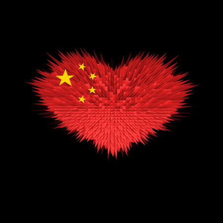 The Heart of China Flag abstract background.