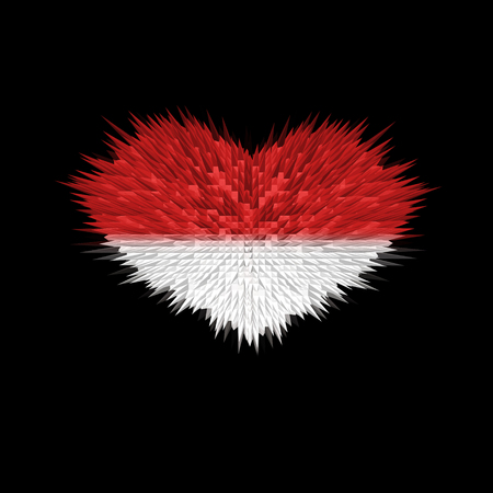 The Heart of Indonesia Flag abstract background.
