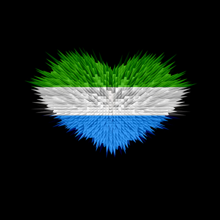 The Heart of Sierra Leone Flag abstract background. Stock Photo