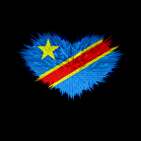 The Heart of Democratic Republic of the Congo Flag abstract background.