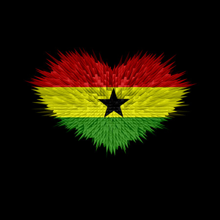 The Heart of Ghana Flag abstract background. Stock Photo